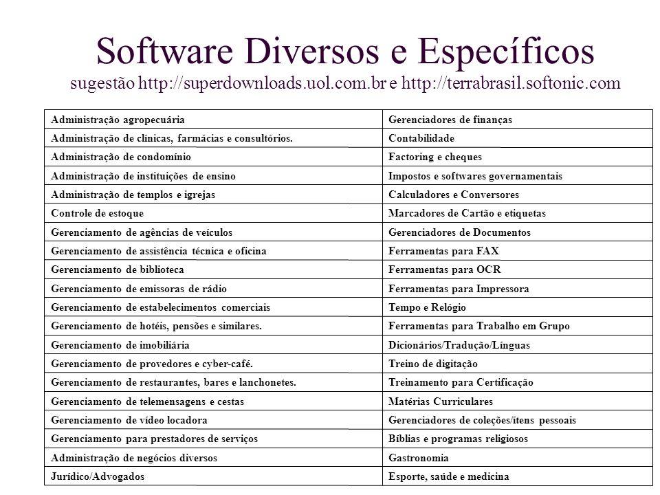 Software Diversos e Específicos sugestão http://superdownloads.uol.com.br e http://terrabrasil.softonic.com Esporte, saúde e medicinaJurídico/Advogado