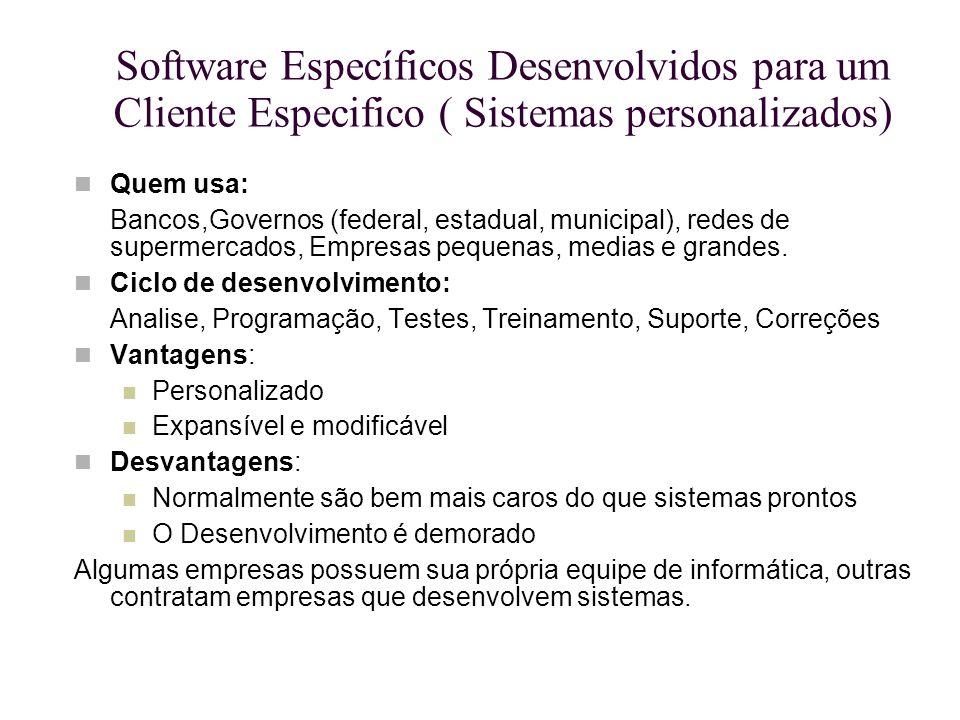 Software Específicos Desenvolvidos para um Cliente Especifico ( Sistemas personalizados) Quem usa: Bancos,Governos (federal, estadual, municipal), red
