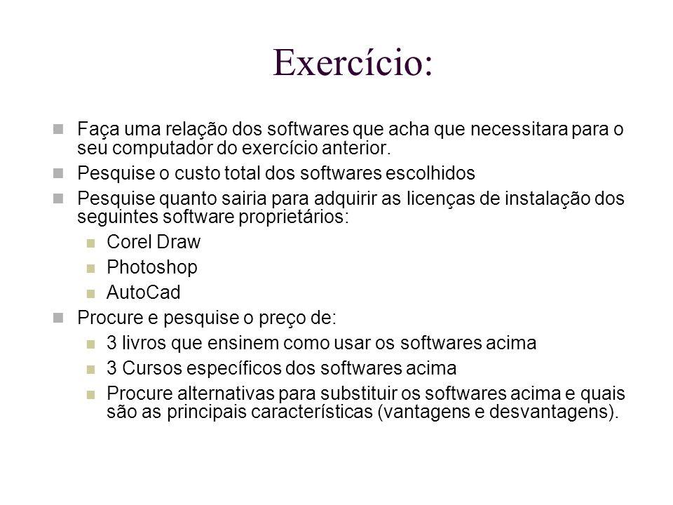 Exercício: Faça uma relação dos softwares que acha que necessitara para o seu computador do exercício anterior. Pesquise o custo total dos softwares e
