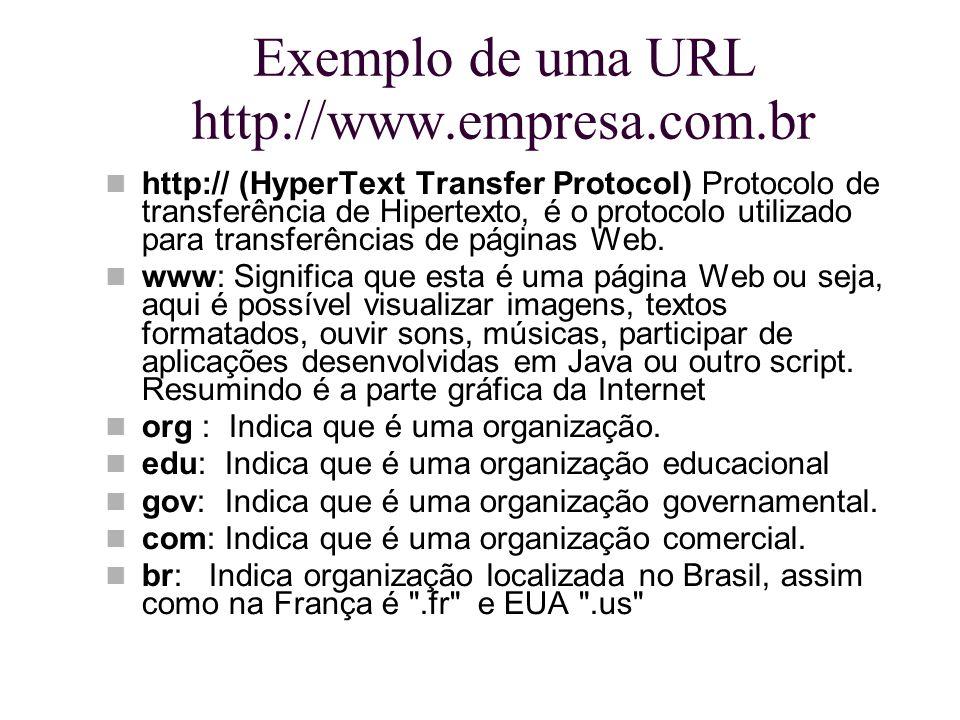Exemplo de uma URL http://www.empresa.com.br http:// (HyperText Transfer Protocol) Protocolo de transferência de Hipertexto, é o protocolo utilizado p