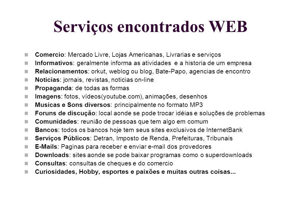 Serviços encontrados WEB Comercio: Mercado Livre, Lojas Americanas, Livrarias e serviços Informativos: geralmente informa as atividades e a historia d