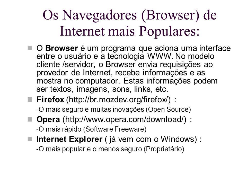 Os Navegadores (Browser) de Internet mais Populares: O Browser é um programa que aciona uma interface entre o usuário e a tecnologia WWW. No modelo cl
