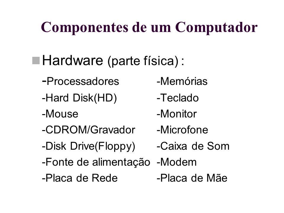 Componentes de um Computador Hardware (parte física) : - Processadores-Memórias -Hard Disk(HD)-Teclado -Mouse-Monitor -CDROM/Gravador-Microfone -Disk