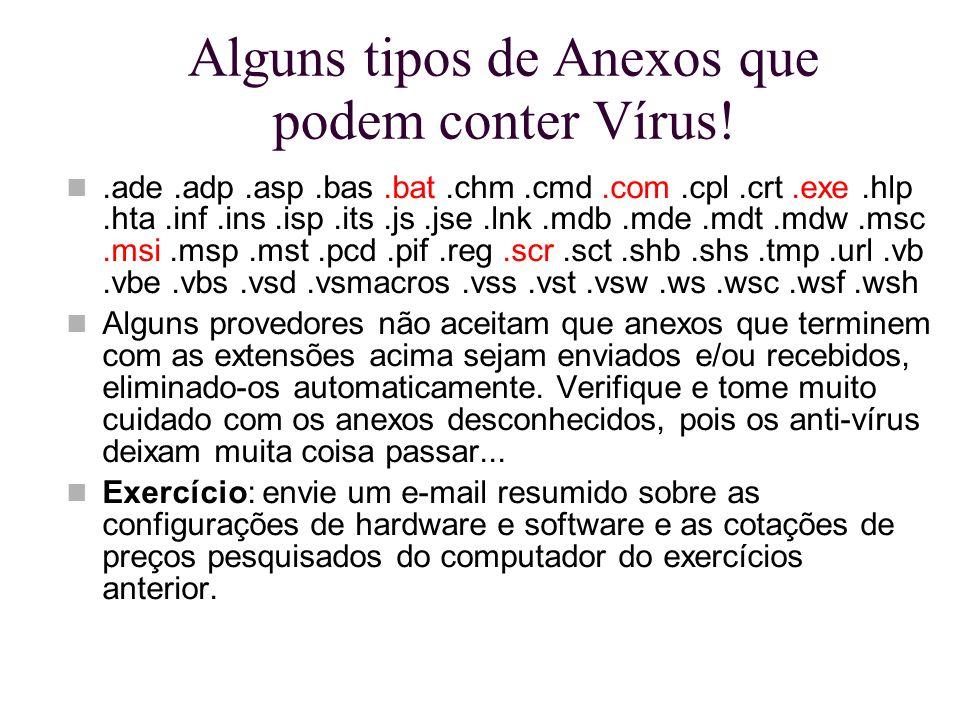 Alguns tipos de Anexos que podem conter Vírus!.ade.adp.asp.bas.bat.chm.cmd.com.cpl.crt.exe.hlp.hta.inf.ins.isp.its.js.jse.lnk.mdb.mde.mdt.mdw.msc.msi.