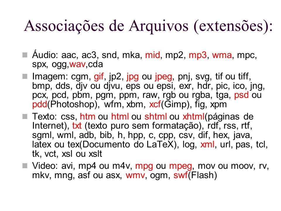 Associações de Arquivos (extensões): Áudio: aac, ac3, snd, mka, mid, mp2, mp3, wma, mpc, spx, ogg,wav,cda Imagem: cgm, gif, jp2, jpg ou jpeg, pnj, svg