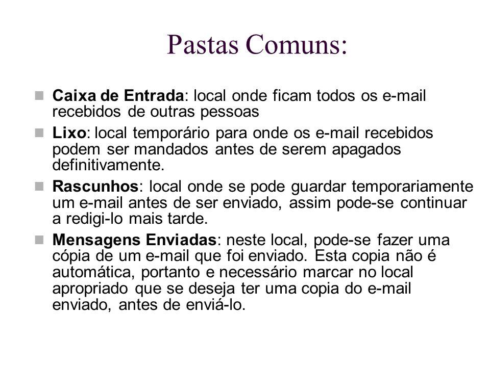 Pastas Comuns: Caixa de Entrada: local onde ficam todos os e-mail recebidos de outras pessoas Lixo: local temporário para onde os e-mail recebidos pod