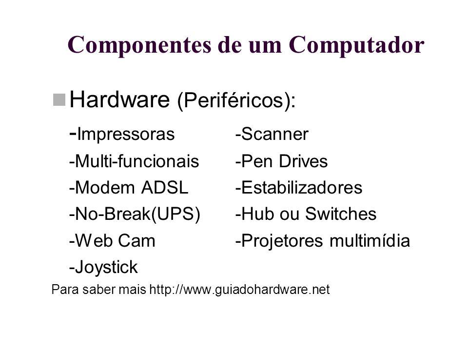Componentes de um Computador Hardware (Periféricos): - Impressoras-Scanner -Multi-funcionais-Pen Drives -Modem ADSL-Estabilizadores -No-Break(UPS)-Hub