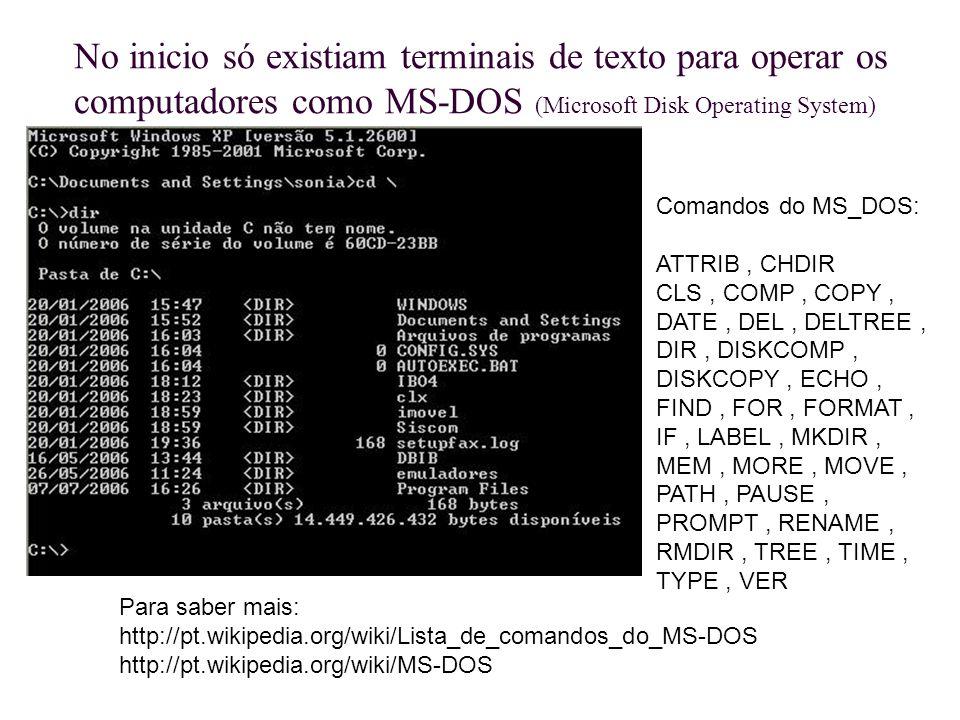 No inicio só existiam terminais de texto para operar os computadores como MS-DOS (Microsoft Disk Operating System) Comandos do MS_DOS: ATTRIB, CHDIR C