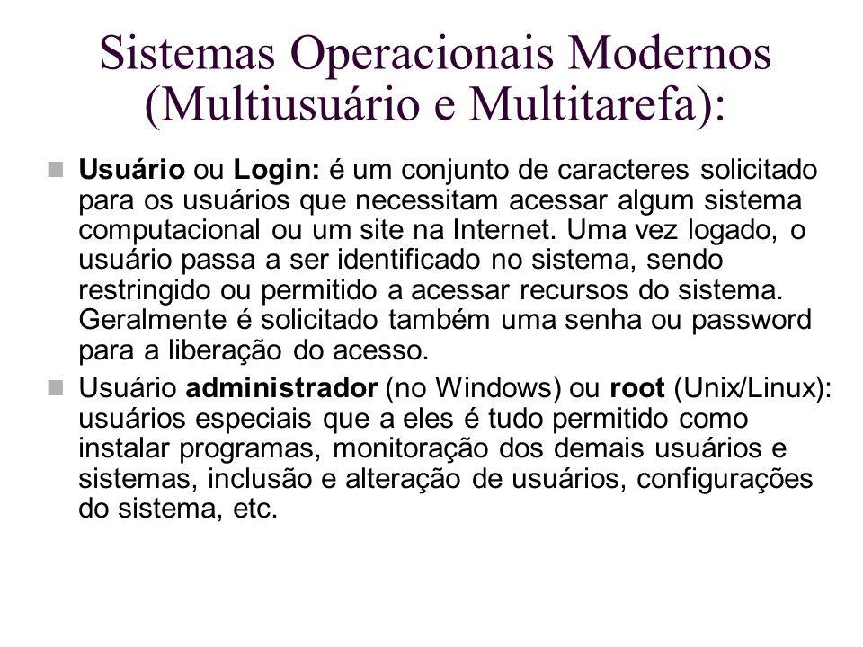 Sistemas Operacionais Modernos (Multiusuário e Multitarefa): Usuário ou Login: é um conjunto de caracteres solicitado para os usuários que necessitam