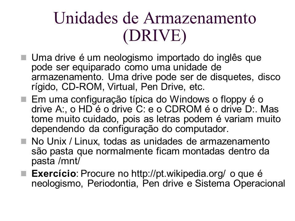 Unidades de Armazenamento (DRIVE) Uma drive é um neologismo importado do inglês que pode ser equiparado como uma unidade de armazenamento. Uma drive p