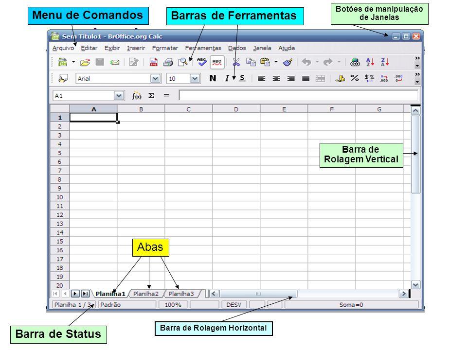 Menu de Comandos Barras de Ferramentas Botões de manipulação de Janelas Barra de Status Barra de Rolagem Horizontal Barra de Rolagem Vertical Abas