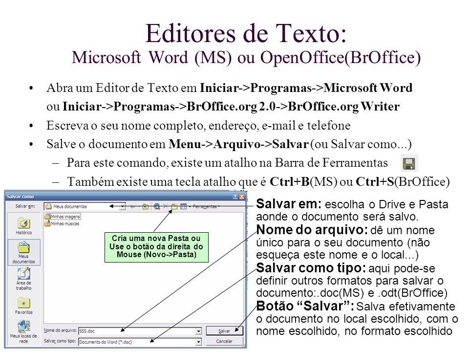 Editores de Texto: Microsoft Word (MS) ou OpenOffice(BrOffice) Abra um Editor de Texto em Iniciar->Programas->Microsoft Word ou Iniciar->Programas->Br