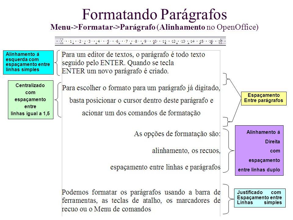 Formatando Parágrafos Menu->Formatar->Parágrafo (Alinhamento no OpenOffice) Alinhamento á esquerda com espaçamento entre linhas simples Centralizado c