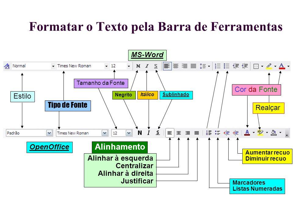 Formatar o Texto pela Barra de Ferramentas MS-Word Estilo Tipo de Fonte Tamanho da Fonte Negrito ItálicoSublinhado Cor da Fonte OpenOffice Realçar Ali