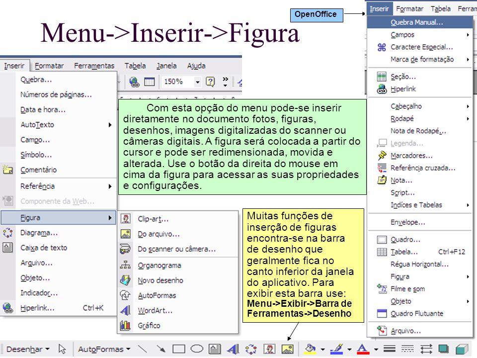 Menu->Inserir->Figura Muitas funções de inserção de figuras encontra-se na barra de desenho que geralmente fica no canto inferior da janela do aplicat