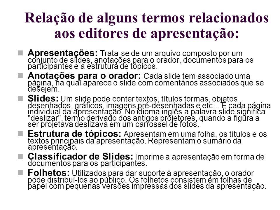 Relação de alguns termos relacionados aos editores de apresentação: Apresentações: Trata-se de um arquivo composto por um conjunto de slides, anotaçõe
