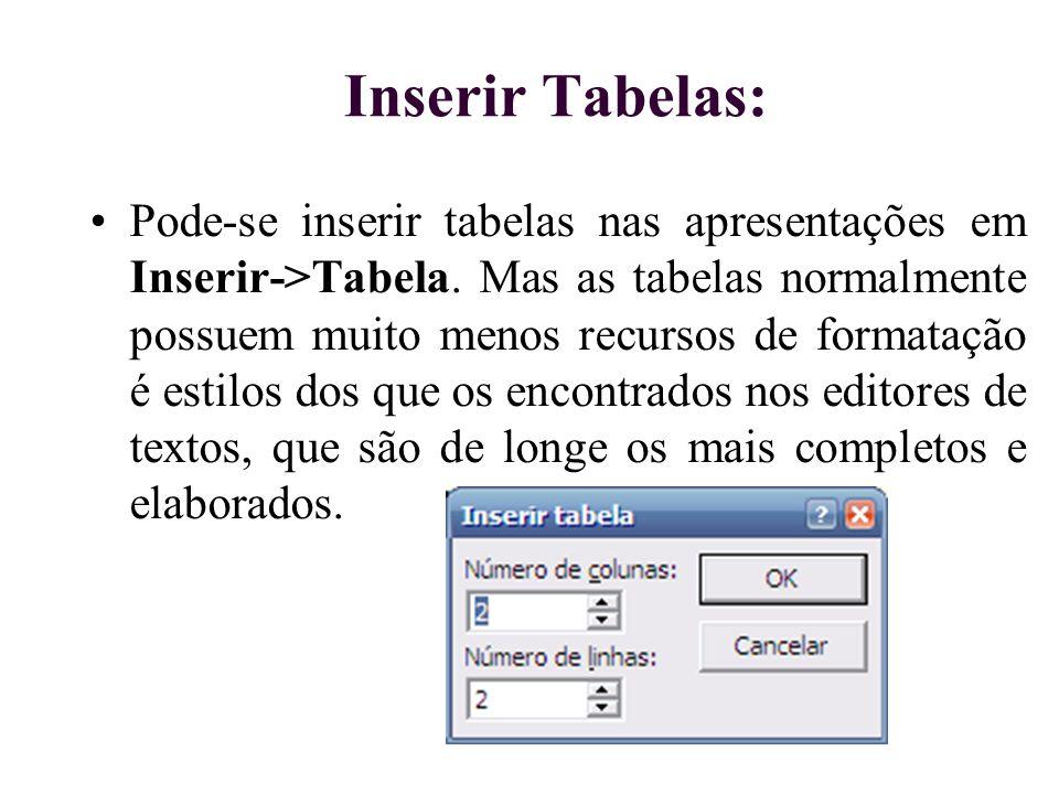 Inserir Tabelas: Pode-se inserir tabelas nas apresentações em Inserir->Tabela. Mas as tabelas normalmente possuem muito menos recursos de formatação é