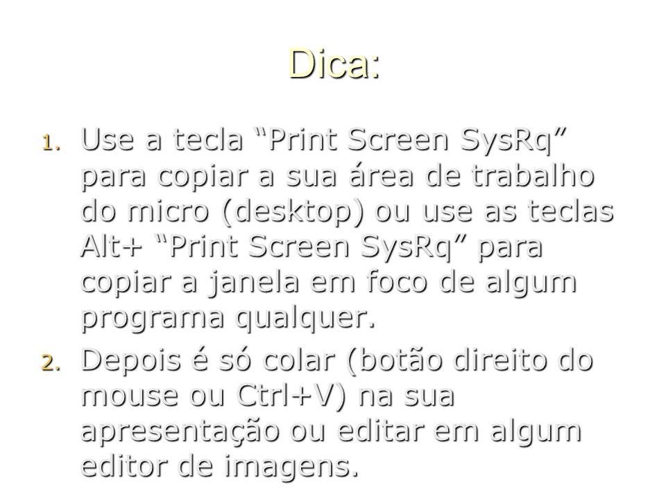 """Dica: 1. U se a tecla """"Print Screen SysRq"""" para copiar a sua área de trabalho do micro (desktop) ou use as teclas Alt+ """"Print Screen SysRq"""" para copia"""