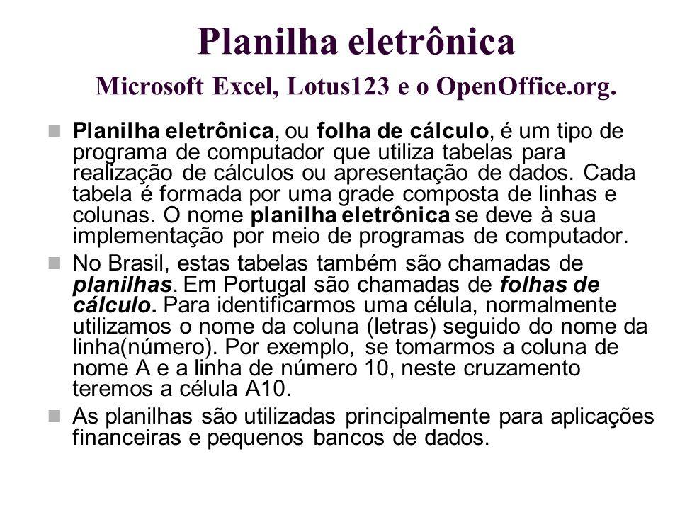 Planilha eletrônica Microsoft Excel, Lotus123 e o OpenOffice.org. Planilha eletrônica, ou folha de cálculo, é um tipo de programa de computador que ut