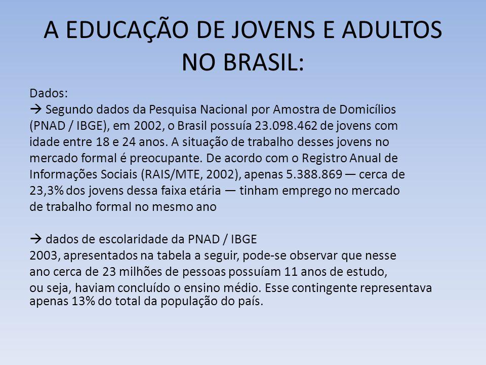 A EDUCAÇÃO DE JOVENS E ADULTOS NO BRASIL: Dados:  Segundo dados da Pesquisa Nacional por Amostra de Domicílios (PNAD / IBGE), em 2002, o Brasil possu