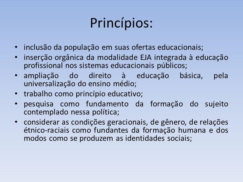 Princípios: inclusão da população em suas ofertas educacionais; inserção orgânica da modalidade EJA integrada à educação profissional nos sistemas edu