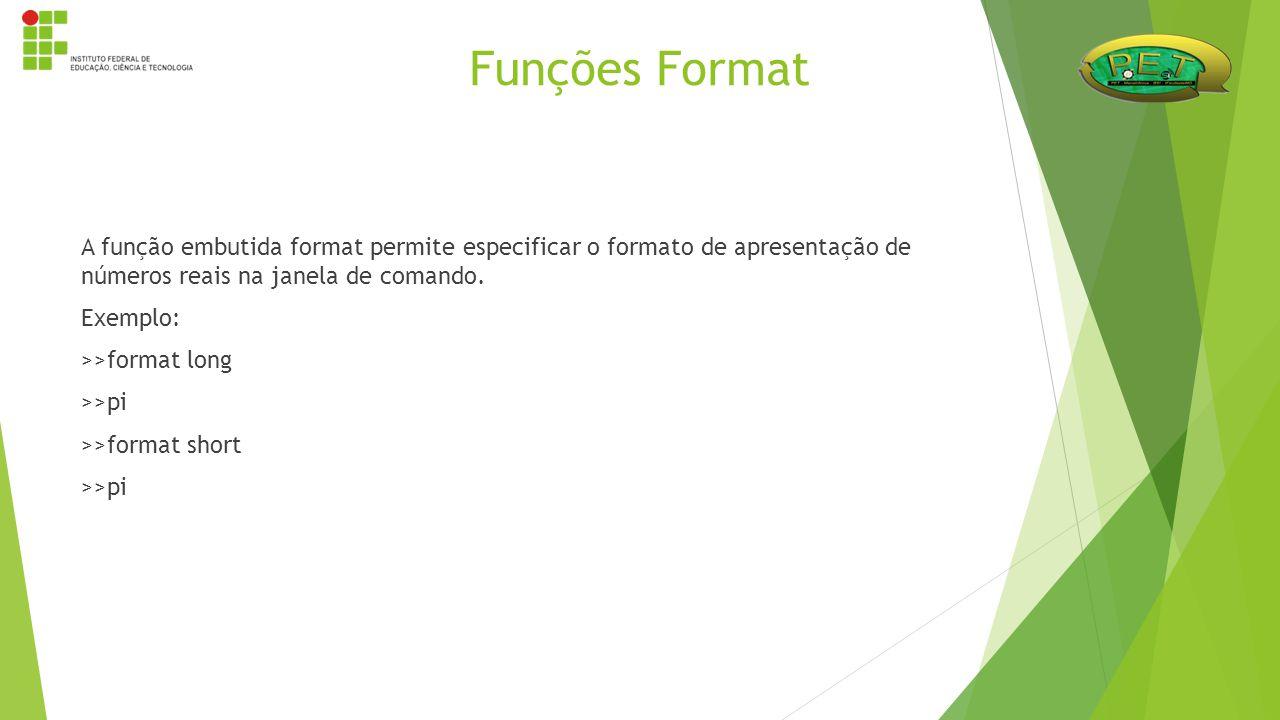 A função embutida format permite especificar o formato de apresentação de números reais na janela de comando. Exemplo: >>format long >>pi >>format sho