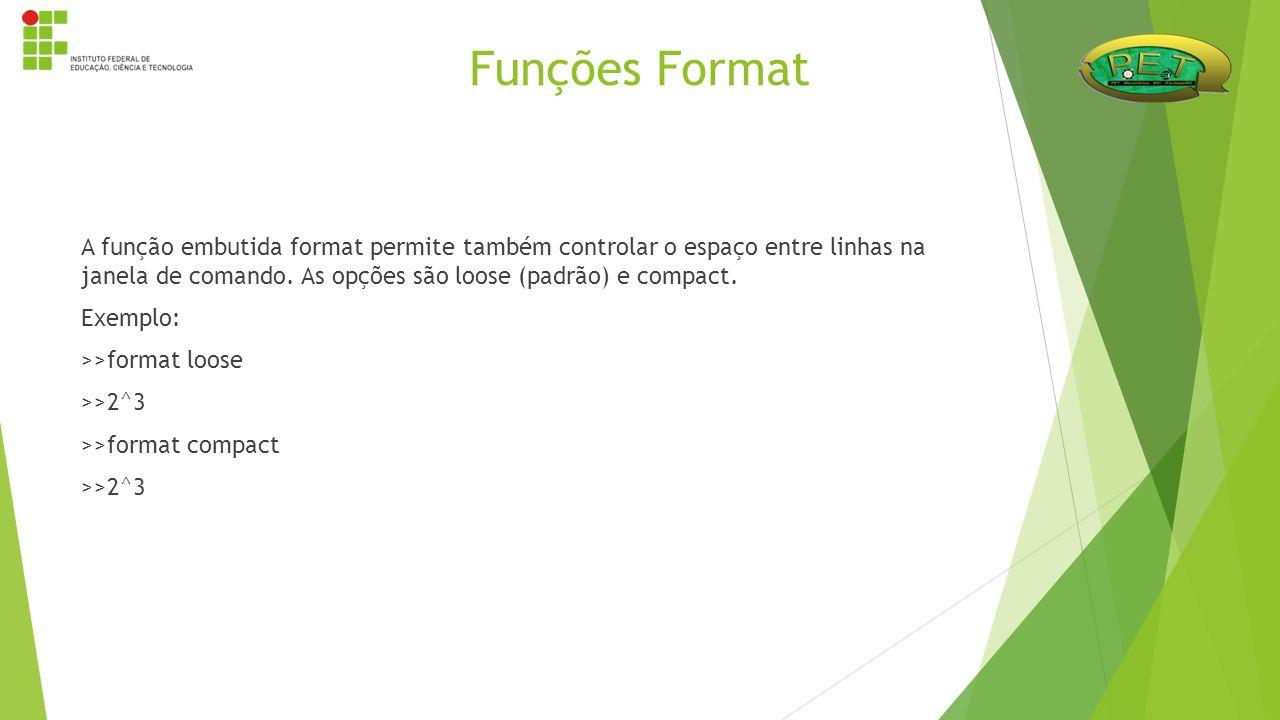 A função embutida format permite também controlar o espaço entre linhas na janela de comando. As opções são loose (padrão) e compact. Exemplo: >>forma