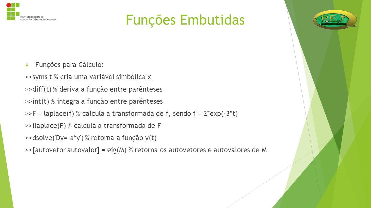  Funções para Cálculo: >>syms t % cria uma variável simbólica x >>diff(t) % deriva a função entre parênteses >>int(t) % integra a função entre parênt