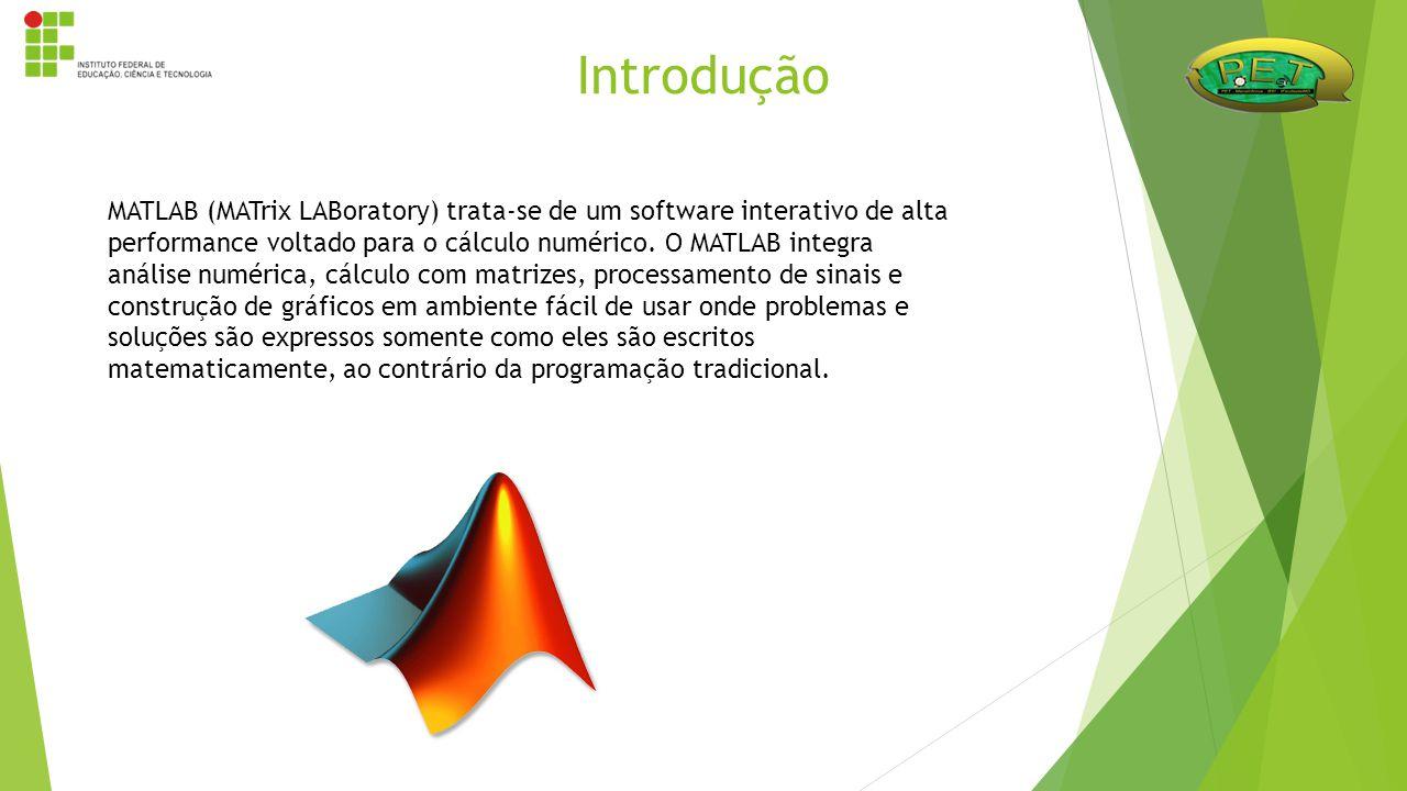 Introdução MATLAB (MATrix LABoratory) trata-se de um software interativo de alta performance voltado para o cálculo numérico. O MATLAB integra análise