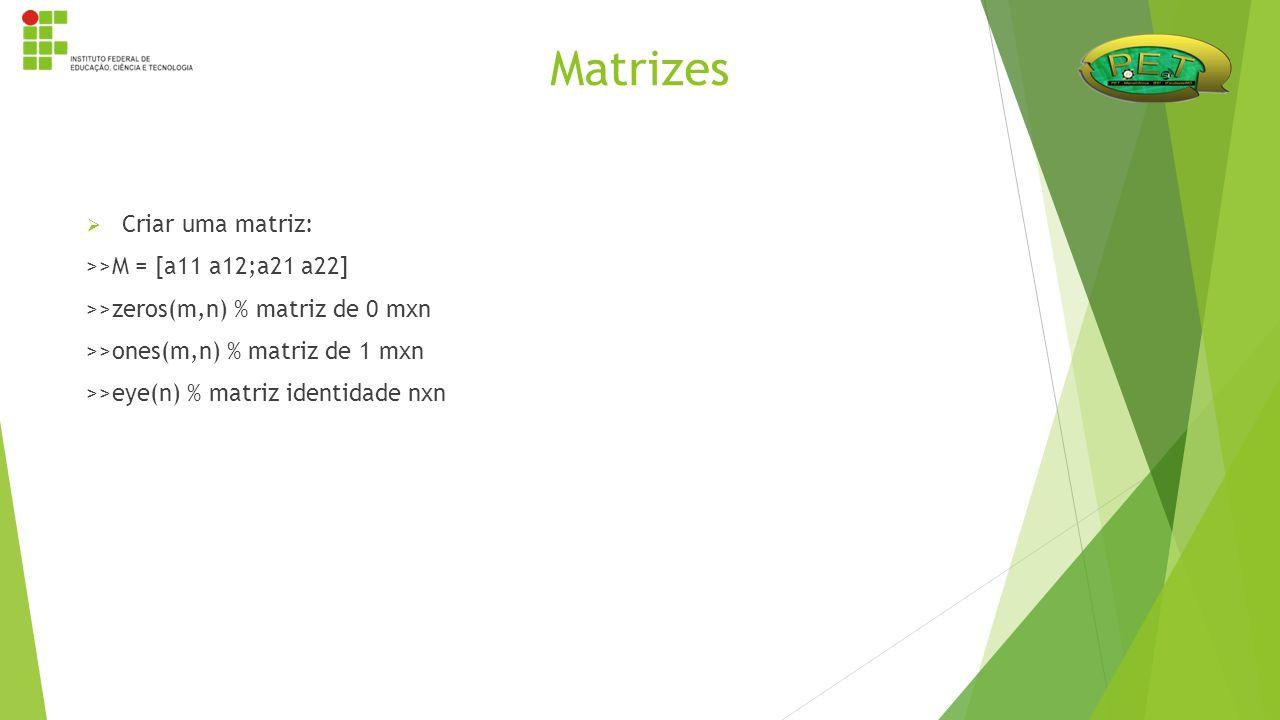  Criar uma matriz: >>M = [a11 a12;a21 a22] >>zeros(m,n) % matriz de 0 mxn >>ones(m,n) % matriz de 1 mxn >>eye(n) % matriz identidade nxn Matrizes