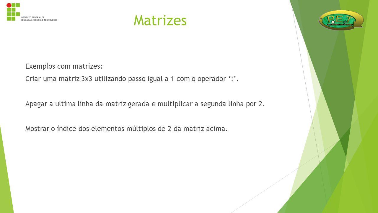 Exemplos com matrizes: Criar uma matriz 3x3 utilizando passo igual a 1 com o operador ':'. Apagar a ultima linha da matriz gerada e multiplicar a segu