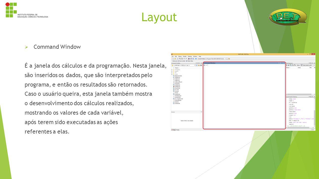 Layout  Command Window É a janela dos cálculos e da programação. Nesta janela, são inseridos os dados, que são interpretados pelo programa, e então o
