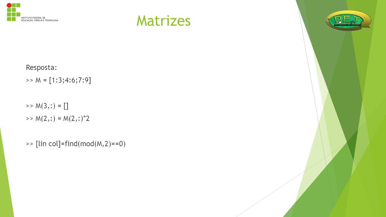 Resposta: >> M = [1:3;4:6;7:9] >> M(3,:) = [] >> M(2,:) = M(2,:)*2 >> [lin col]=find(mod(M,2)==0) Matrizes