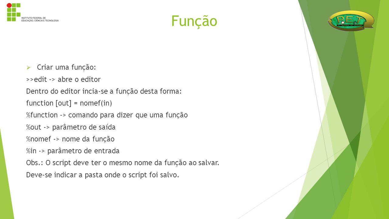  Criar uma função: >>edit -> abre o editor Dentro do editor incia-se a função desta forma: function [out] = nomef(in) %function -> comando para dizer