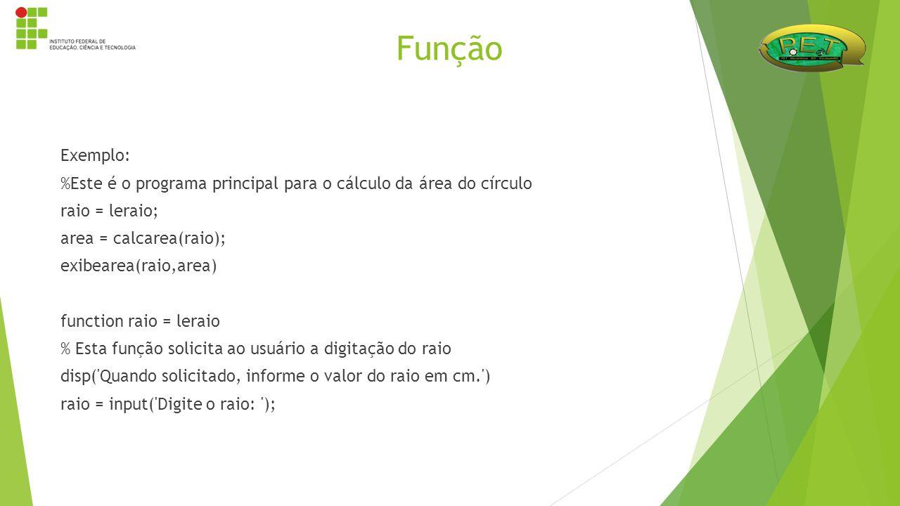 Exemplo: %Este é o programa principal para o cálculo da área do círculo raio = leraio; area = calcarea(raio); exibearea(raio,area) function raio = ler