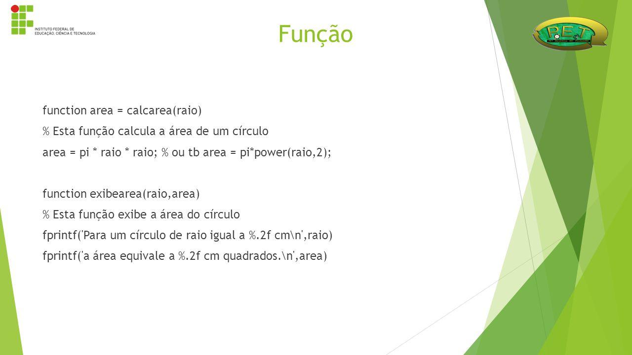 function area = calcarea(raio) % Esta função calcula a área de um círculo area = pi * raio * raio; % ou tb area = pi*power(raio,2); function exibearea
