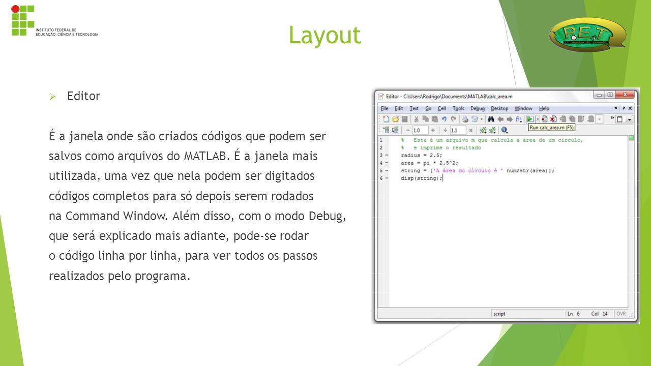  Editor É a janela onde são criados códigos que podem ser salvos como arquivos do MATLAB. É a janela mais utilizada, uma vez que nela podem ser digit