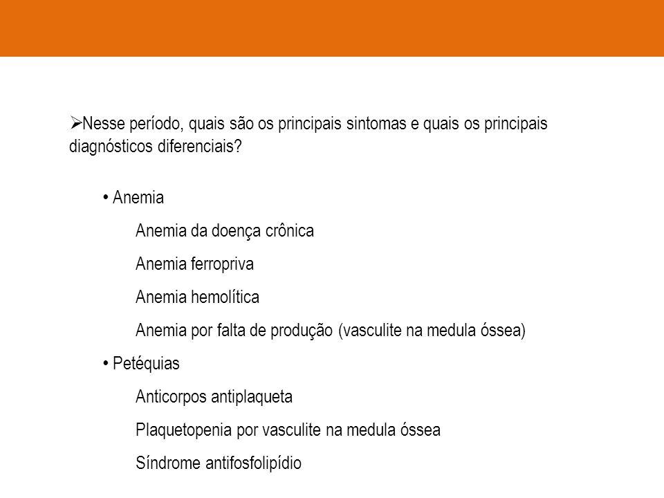  Nesse período, quais são os principais sintomas e quais os principais diagnósticos diferenciais? Anemia Anemia da doença crônica Anemia ferropriva A
