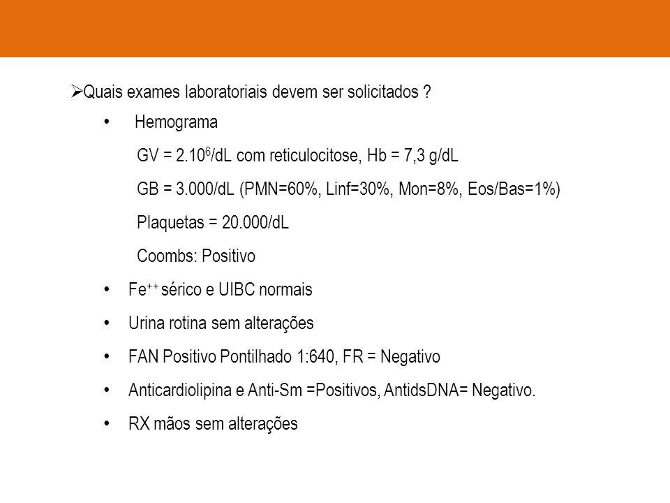  Quais exames laboratoriais devem ser solicitados ? Hemograma GV = 2.10 6 /dL com reticulocitose, Hb = 7,3 g/dL GB = 3.000/dL (PMN=60%, Linf=30%, Mon