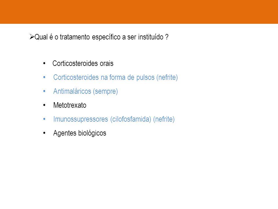  Qual é o tratamento específico a ser instituído ? Corticosteroides orais Corticosteroides na forma de pulsos (nefrite) Antimaláricos (sempre) Metotr