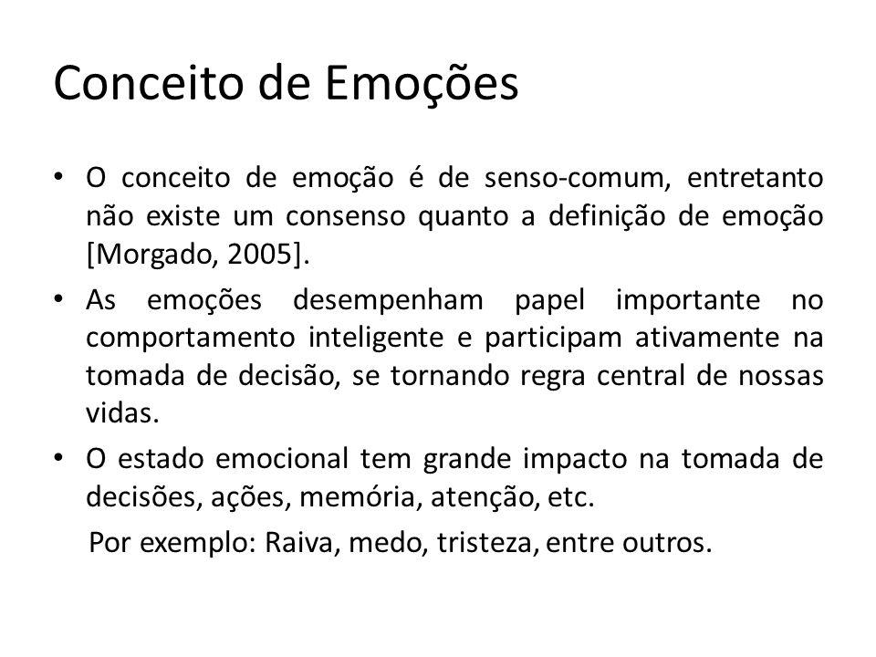 Conceito de Emoções Vários pesquisadores propuseram modelos para a estruturação de emoções, sendo alguns deles: [Damásio, 2000] a emoção é um rótulo que designa um conjunto de fenômenos ou comportamentos.