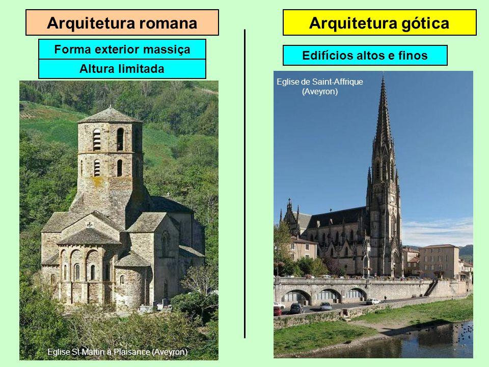 Arquitetura romanaArquitetura gótica Altura limitada Forma externa massiça Eglise St-Martin à Plaisance (Aveyron)