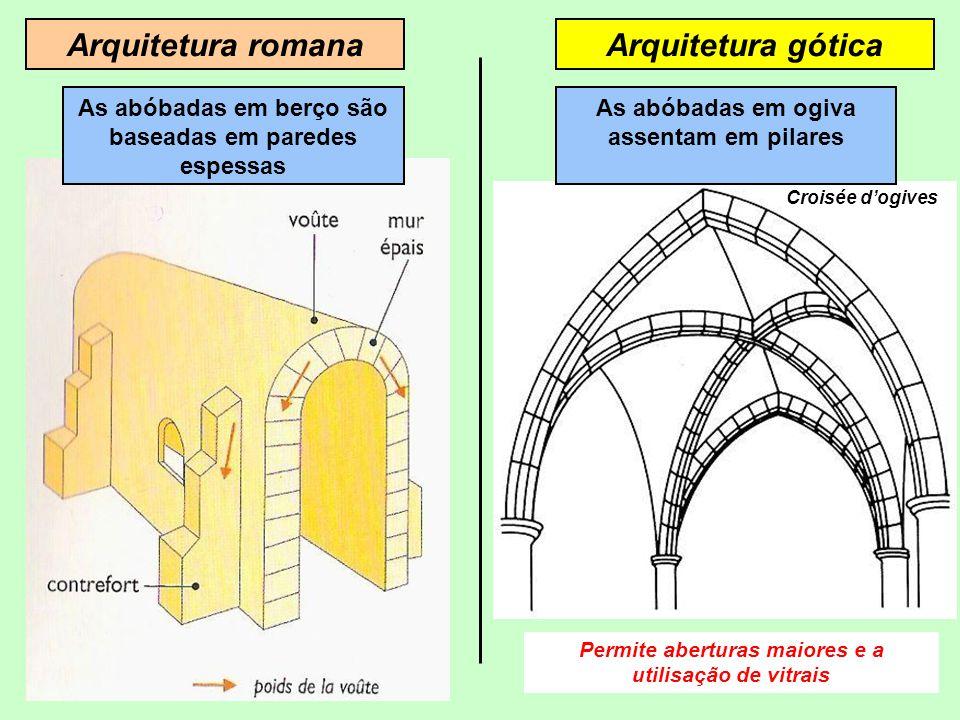 Arquitetura góticaArquitetura romana As abóbadas em berço são baseadas em paredes espessas