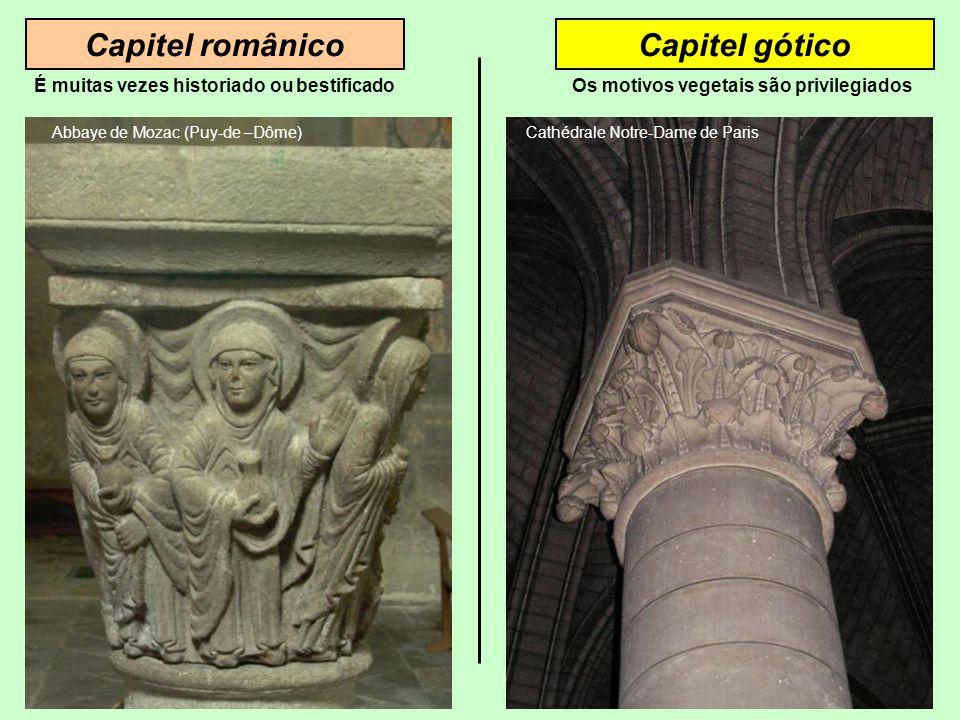 Capitel românicoCapitel gótico Abbaye de Mozac (Puy-de –Dôme) É muitas vezes historiado ou bestificado