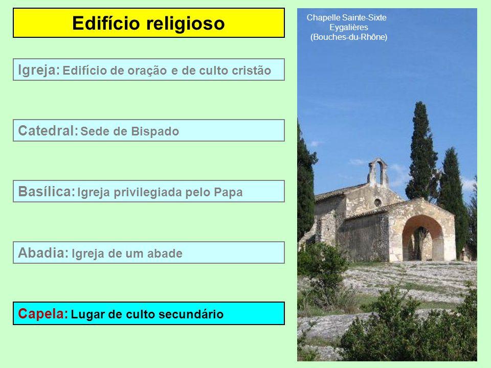 Edifício religioso Basílica: Igreja privilegiada pelo Papa Catedral: Sede de Bispado Abadia: Igreja com um abade Igreja: Edifício de oração e de culto