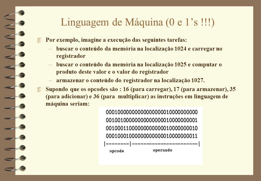 Linguagem de Máquina (0 e 1's !!!) 4 Por exemplo, imagine a execução das seguintes tarefas: –buscar o conteúdo da memória na localização 1024 e carreg