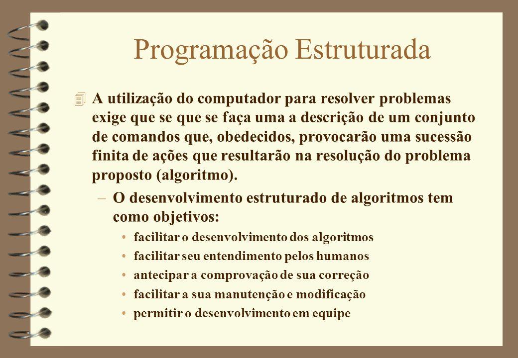Programação Estruturada 4 A utilização do computador para resolver problemas exige que se que se faça uma a descrição de um conjunto de comandos que,