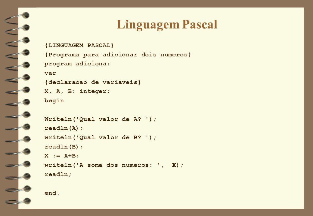 Linguagem Pascal {LINGUAGEM PASCAL} {Programa para adicionar dois numeros} program adiciona; var {declaracao de variaveis} X, A, B: integer; begin Wri
