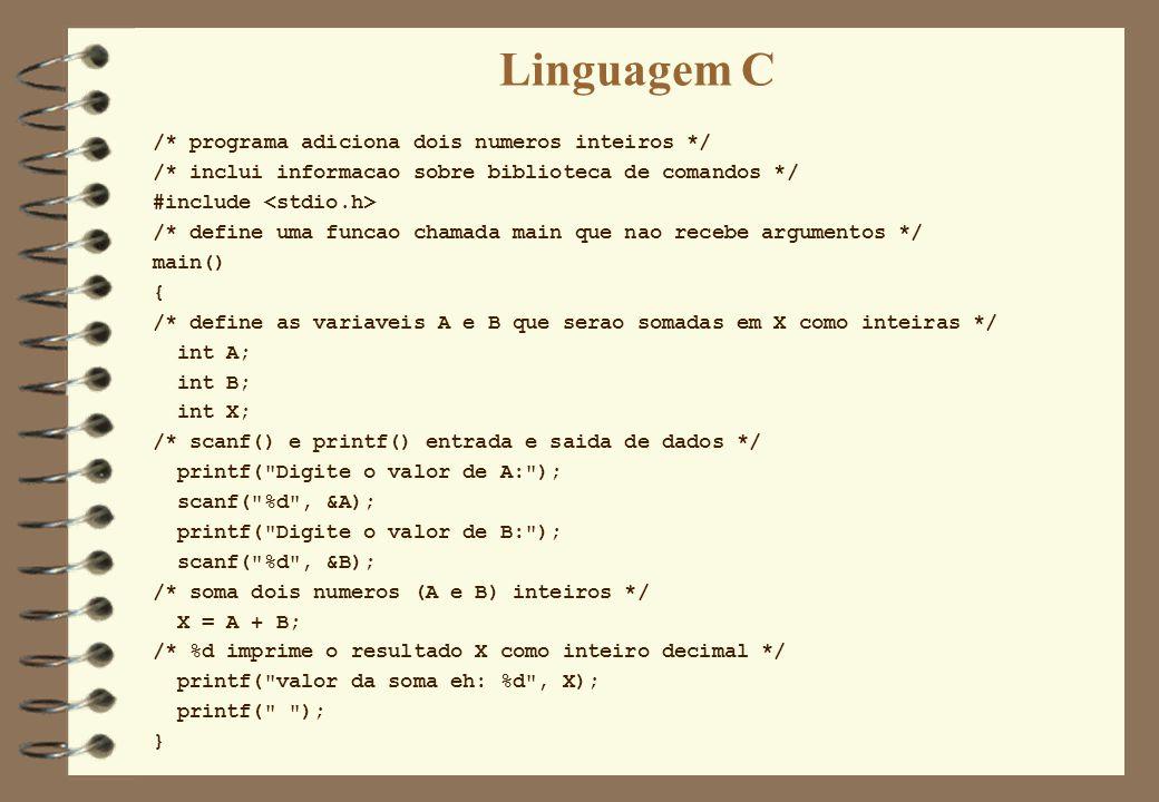 Linguagem C /* programa adiciona dois numeros inteiros */ /* inclui informacao sobre biblioteca de comandos */ #include /* define uma funcao chamada m