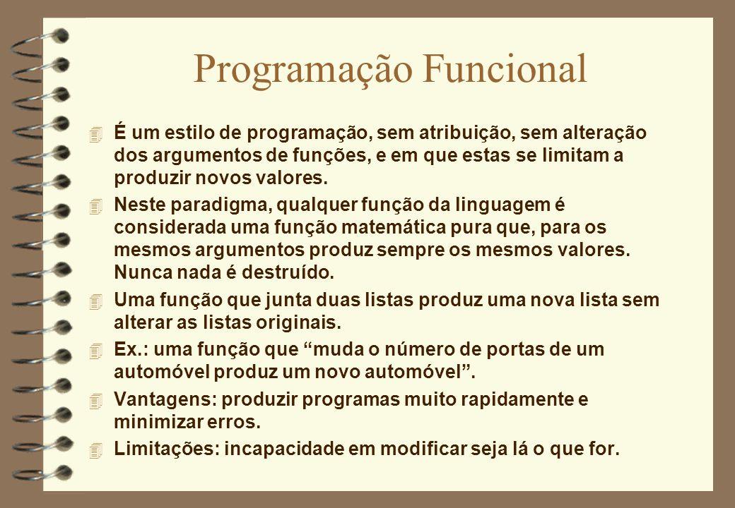 Programação Funcional 4 É um estilo de programação, sem atribuição, sem alteração dos argumentos de funções, e em que estas se limitam a produzir novo